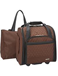 Travelon Wheeled Underseat Carry-On with Back-Up Bag, Quilted Microfiber, Chocolate, One Size