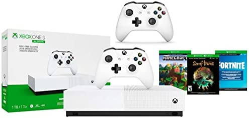 Xbox One S 1TB All-Digital Edition Two Controller Bundle, Xbox One S 1TB Disc-Free Console, 2 Wireless Controllers, Download Codes for Minecraft, Sea of Thieves and Fortnite Battle Royale
