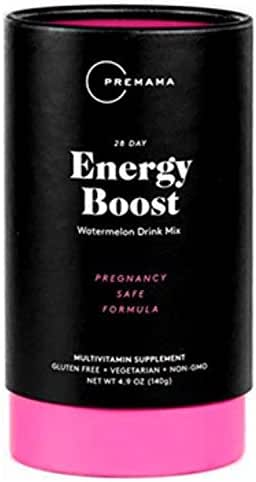 PREMAMA - Prenatal Energy Boost Drink Mix - Gluten-Free, Vegetarian, and Non-GMO - Watermelon Flavor - 28 Servings