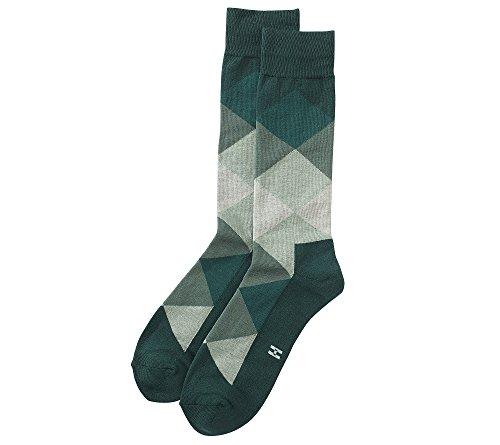 Hue Dress Socks (HUE Men's Color Blocked Dress Socks Bottle Green)