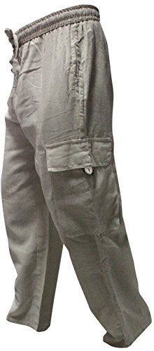 Shopoholic Fashion Mens Light Weight Plain Hippy Combat Trouser (Cream,3XL)