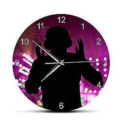 GZGJ Personalised DJ Name Printed DJ Wall Clock Disc Jockey Turntable Mixer Record Custom DJ Exclusive Music Gift Night Club Decor