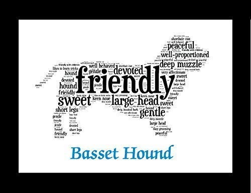 Basset Hound Dog Wall Art Print - Personalized Pet Name - Gift for Her or Him - 11x14 matted - Ships 1 Day ()