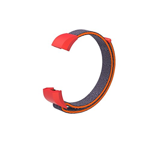 FUNKID Nylon Band for Fitbit Ace Smartwatch Wristbands Adjustable Straps Replacement for Children Kids Red