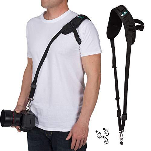 Movo Rapid Action Over-The-Shoulder Sling DSLR, Mirrorless Camera Strap with Bonus Lens Cap Holders Compatible Canon, Nikon, Sony, Pentax, Panasonic, Olympus, FUJIFILM