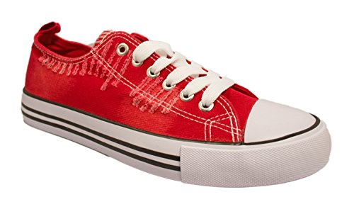 womens-casual-canvas-shoes-solid-colors-low-top-lace-up-flat-fashion-sneakers-9-ripped-red