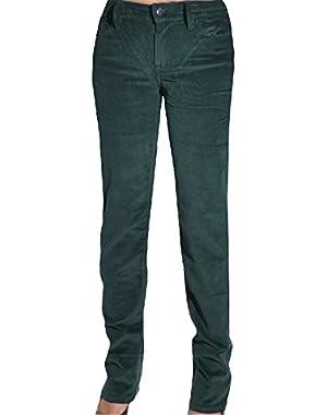Womens Power Stretch Straight Leg Slim Fit Corduroy Pants (Black, 6 x 34L)