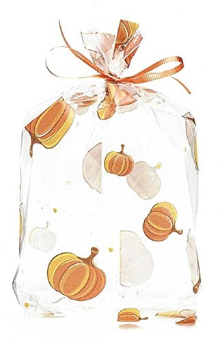 BnB Treat Bags Pumpkin Parade Print Fall Autumn Harvest Festival Design for Halloween or Thanksgiving Wedding Candy Favors Bake Sales or Cookies, inches 11 H x 5 W x 2.5 D, Brown Orange Yellow 20 pack (Fall Treats)