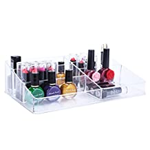 """SortWise ® [DIY Buildable - XL] Extra Large Capacity 9 Compartments Top Section 11.2"""" x 6.9"""" x 3.9"""" Clear Acrylic Lipstick Grids Organizer Holder Nail Polish Makeup Cosmetic Storage Case For Desktop Display Rack Multipurpose (#020, Transparent)"""