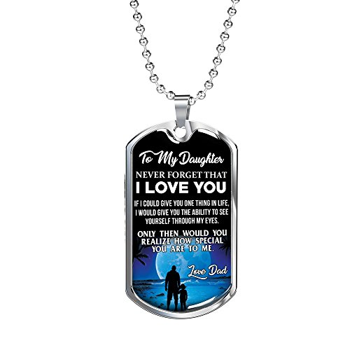 TERAVEX Dog Tag Gifts for Daughter to Daughter Necklace Jewelry Pendant, Surgical Steel- Christmas Birthday Fathers -