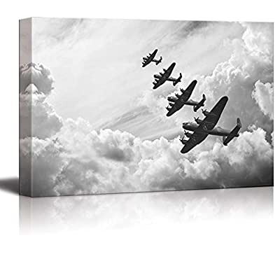 Canvas Prints Wall Art - Black and White Retro Image of Lancaster Bombers from Battle of Britain in World War 2 | Modern Wall Art Stretched Gallery Canvas Wrap Print & Ready to Hang - 16