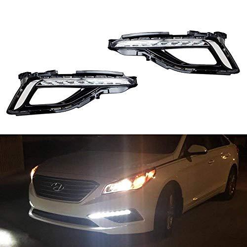 iJDMTOY Xenon White LED Daytime Running Lights For 2015-up Hyundai Sonata SE, OEM Style DRL Bezels