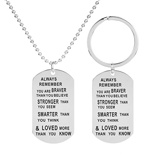 SXNK7 Always Remember You are Braver Stronger Smarter Than You Think Pendant Necklace Keychain Family Friend Gift Hand Stamped