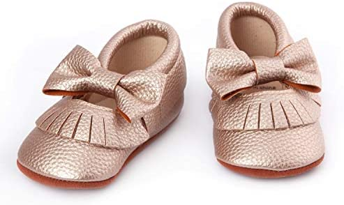 Willow Rose Gold Baby Moccasin Shoes- Sugar Tease