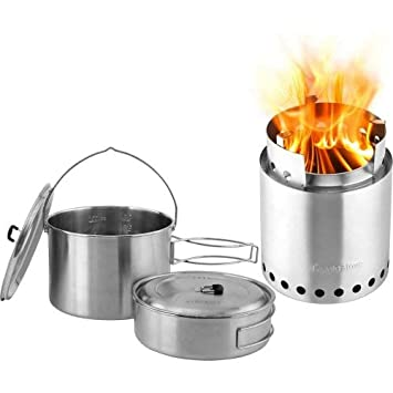 Solo Stove Campfire Wood Burning Backpacking Stove and 2 Pot Set ...