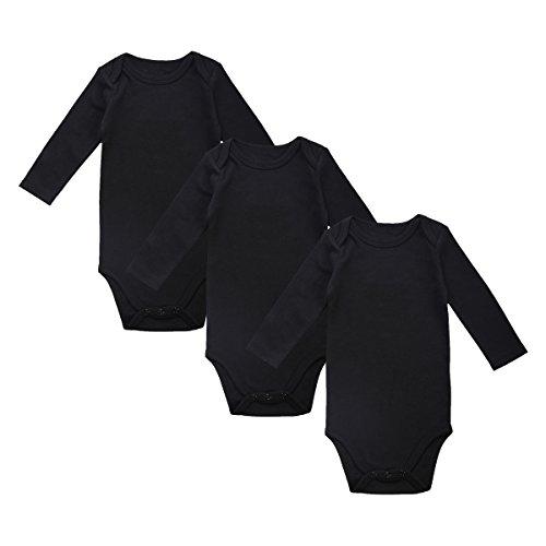 OPAWO Baby Long Sleeve Unisex Boys Girls Bodysuits Black 3 Pack 0-3 Months