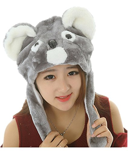 Funny Short Plush Multicolor Halloween Festival Party Creative Stereoscopic Forest Steppe Animals Mardi Gras Party Costume Hat (Coon)