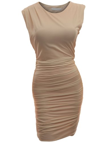 Beige Womens Dress - Doublju Classic Slim Fit Sleeveless Sexy Bodycon Dress For Women With Plus Size BEIGE 2XL