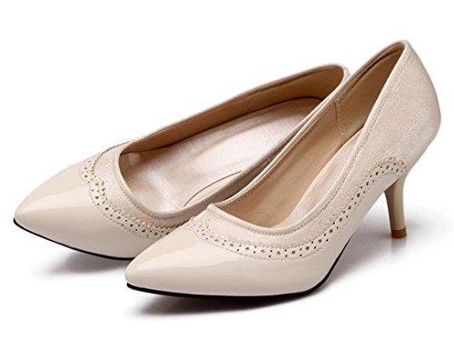YE Damen 7cm Absatz Kitten Heel Leder High Heels Spitze Zehen Geschlossen Stiletto Brogues Pumps Work Office Schuhe Beige