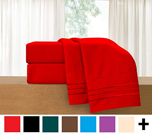 Elegant Comfort 4-Piece Sheet Set-Luxury Bedding 1500 Thread Count Egyptian Quality Wrinkle and Fade Resistant Hypoallergenic Cool & Breathable, Easy Elastic Fitted, Queen, Red (Sheets Queen Red)