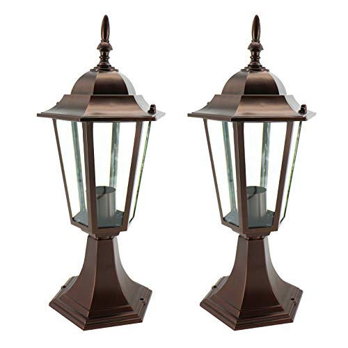 (IN HOME 1-Light Outdoor Garden Post Lantern L01 Lighting Fixture, Traditional Post Lamp Patio with One E26 Base, Water-proof, Bronze Cast Aluminum Housing, Clear Glass Panels, (2 Pack) ETL Listed)