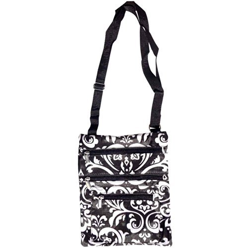 Best Travel Accessories Black & White Damask Hipster Purse Messenger Bag Carrier Swingpack Crossbody Case TravelNut Top Unique Easter Basket Filler Gift Idea Young Ladies Teen Girl Women Spring (Cute Cookie Ideas For Halloween)