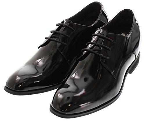 Toto D16026-3 Inches Taller - Height Increasing Elevator Shoes - Zwarte Laklederen Dress-schoenen