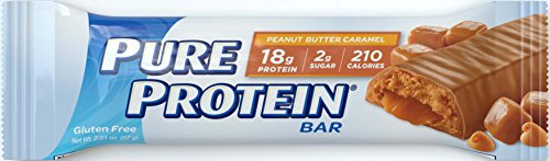Pure Protein Bars, High Protein, Nutritious Snacks to Support Energy, Low Sugar, Gluten Free, Peanut Butter Caramel, 1.76oz, 6 Pack Bar Peanut Butter Caramel