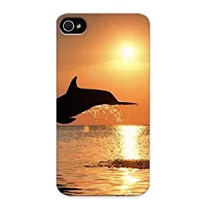 Crooningrose YhOjgL-2191-sDQaB Case For Iphone 4/4s With Nice Dolphins Jumping At Sunset Appearance