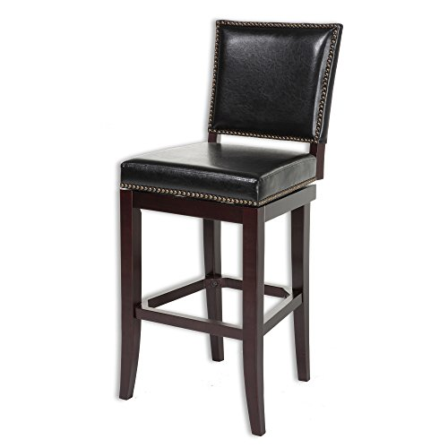 Fashion Bed Group Sacramento Swivel Seat Bar Stool with Espresso Finished Wood Frame, Black Faux Leather Upholstery and Nailhead Trim, 30-Inch Seat Height