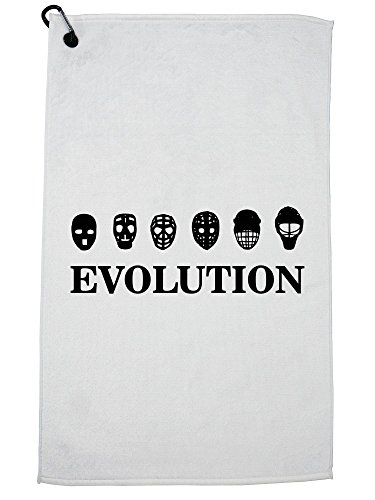 Hollywood Thread Hockey Mask Evolution Awesome Graphic Design Golf Towel with Carabiner Clip