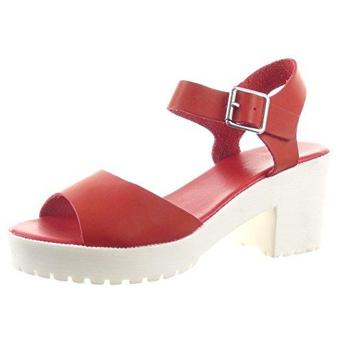 Sopily - Zapatillas de Moda Sandalias Abierto Zapatillas de plataforma Caña baja mujer Sexy tanga Talón Tacón ancho alto 7 CM - Rojo