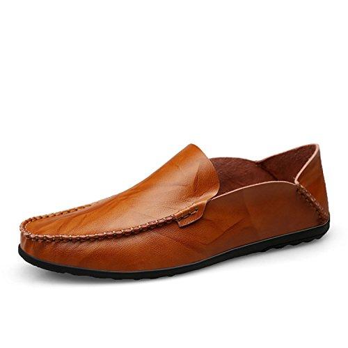 Hombre Mocasines Marrón Slip Cuero Respirables Esthesis Genuino Mocasines de Zapatos Flats on Rojo de Conducción Zapatos Casuales fdndx48q