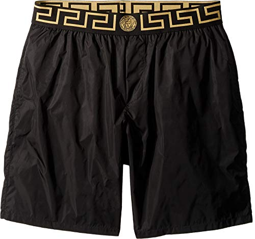 Versace Men's Beach Long Short Boxer Black/Gold/Greek Key 6 ()