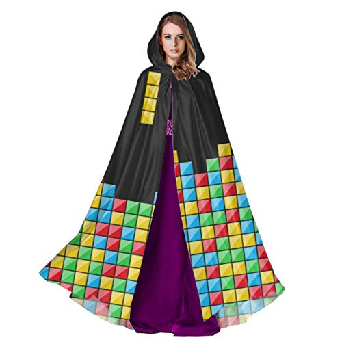 Color Game Three-Dimensional Block Russian Tetris Men S Hooded Cloak Mens Cloak Hood 59inch for Christmas Halloween Cosplay Costumes