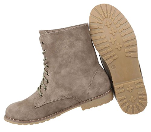 Damen Schuhe Stiefeletten Schnürer Boots Used Optik Modell Nr.2 Hellbraun  ... ad913d4219