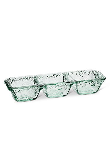 "Clear Recycled Spanish Glass Long 3-Bowl Triple Divided Dish 13"" Length"