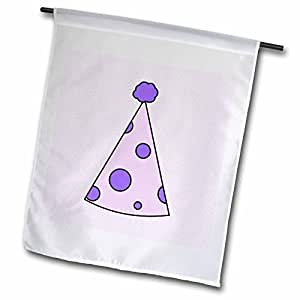 Janna Salak Designs Birthday - Cute Birthday Hat Purple with Dots - 18 x 27 inch Garden Flag (fl_39694_2)