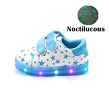 Kids Shoes, Chickwin Cute Noctilucous Star Printing Leather Shoes LED Light Shoes Unisex Baby Kids Comfortable Shoes Flat Running Walking School Shoes (24 / Measurement Inside(cm) 14.7, Blue)