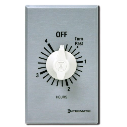Intermatic FF4H 4-Hour Spring Loaded Wall Timer, Brushed Metal by Intermatic