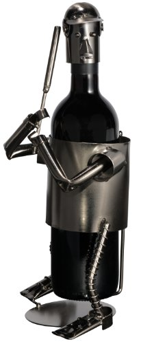 Fabulous Baseball Player in Full Gear Ready to Hit the Ball Metal Wine Bottle Holder By Upscale Innovations