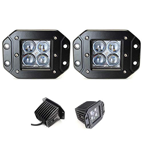 2x Flush mount 20W LED work lights cree pods dually bars lamps w/Dt wires Spot 4d 5d
