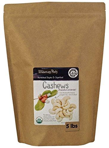 Wilderness Poets Cashews - Organic Raw Cashew Nuts - Bulk Cashews, 5 Pound (80 Ounce)