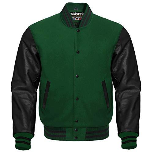 Premium Letterman Baseball School College Bomber Varsity Jacket Wool Blend & Genuine Leather Sleeves (Forest Green/Black, Small)