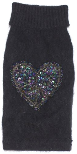- The Dog Squad Beaded Peace Heart Turtleneck Pet Sweater, X-Small, Black