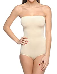 Body Beautiful Seamless Strapless Bodysuit Shaper in Shiny Yarn