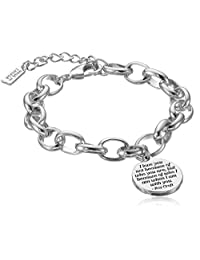 Classic Fashion Roy Croft Inspirational Quote Gift Heart Charm Link Bracelet in Silver Tone Plating