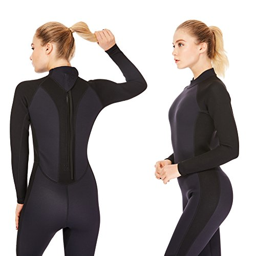 3mm Wetsuit Women,Dark Lightning Women's Wetsuit Long Sleeve Full Suit with Premium Neoprene Womens Suit for Scuba Diving / Surf / Canoe, Jumpersuit (Black 3/3, - Women Wet Suit