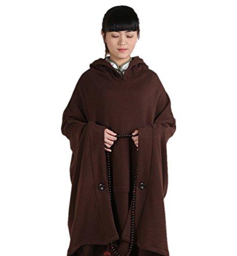 Katuo Meditation Buddhist Hooded Cloak Coat Women Men Outfit Oversize Coat (XXL, Brown) ()