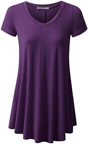 URBANCLEO Womens V-Neck eLong Tunic Top Mini T-shirt Dress (PLUS Size Available)